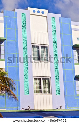 beautiful houses in Art Deco style in South Miami - stock photo