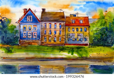 Beautiful houses near water watercolor painting illustration poster hand drawn artwork - stock photo