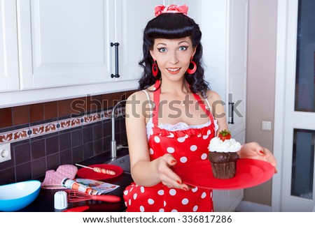 Beautiful housewife preparing cookies - stock photo