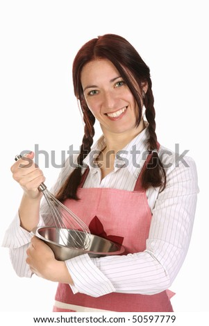 beautiful housewife preparing with egg beater on white  background