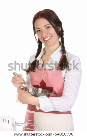 beautiful housewife preparing with egg beater on white background - stock photo