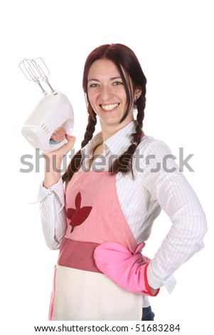 beautiful housewife with electric beater on white background