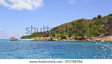 Beautiful Huge granite boulders on Curieuse Island in Indian Ocean. - stock photo