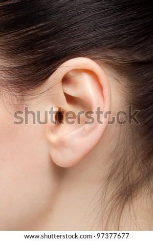 Beautiful human ear - stock photo