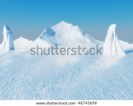 Beautiful ice landscape - stock photo