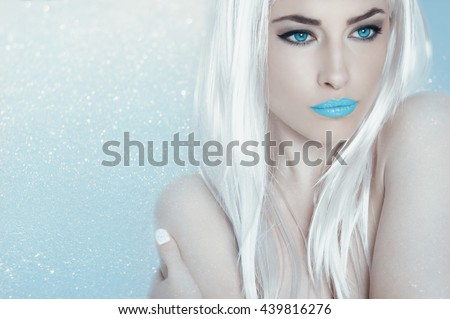 beautiful ice queen with blue eyes and platinum hair