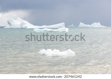Beautiful icebergs in the sun and in front of a dark sky