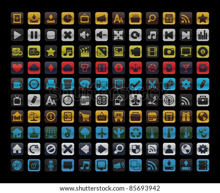 Beautiful icons for your application. Collection of 120 icons. 10 sets of icons. - stock photo