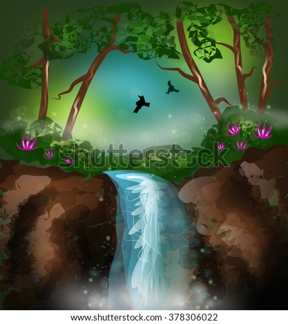 Beautiful illustration of mysterious landscape with waterfall - stock photo