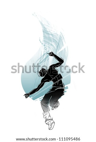 Beautiful illustration with emotional dancer - stock photo