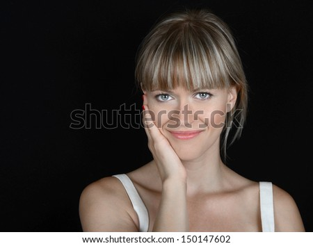 Beautiful Image of a Glamour model On Black - stock photo