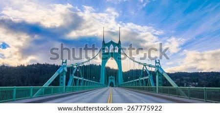 Beautiful Image of Saint John's Bridge in Portland, Oregon - stock photo