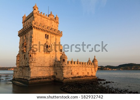 Beautiful image of the famous Belem tower at sunset in Lisbon, Portugal.