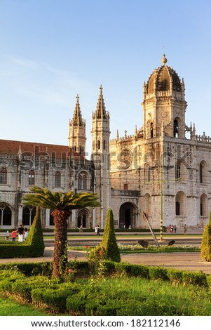 Beautiful image of the Hieronymites Monastery (Jeronimos), a UNESCO world heritage site, in Lisbon, Portugal.