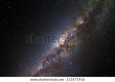 Beautiful image of the milky way seen from Isalo, Madagascar - stock photo