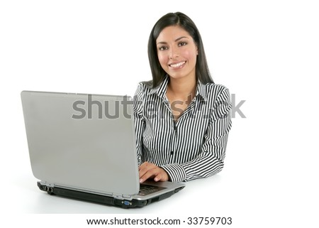 Beautiful indian brunette businesswoman with laptop computer isolated on white - stock photo