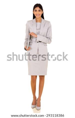 beautiful indian business executive holding laptop isolated on white - stock photo