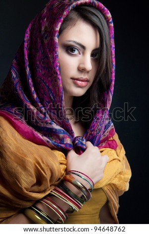 beautiful indian girl - stock photo