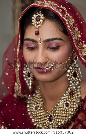 Beautiful Indian, Punjabi Bride at her wedding.