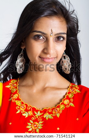 beautiful indian woman closeup portrait in studio - stock photo