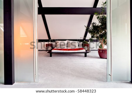beautiful interior of a modern bedroom - stock photo