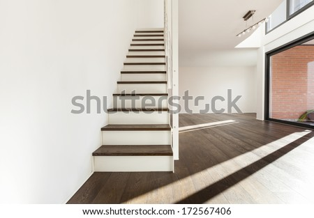 beautiful interior of a new apartment, staircase view - stock photo