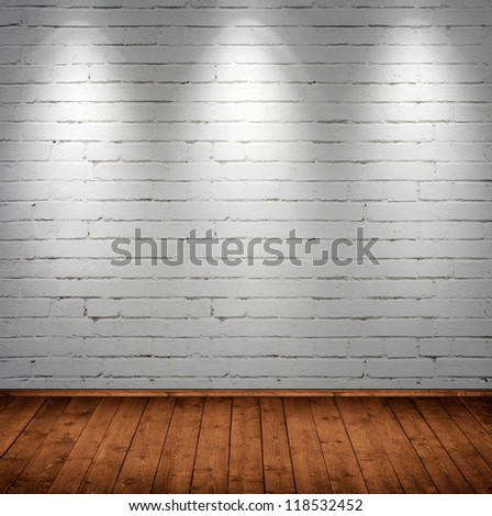beautiful interior room with brick wall - stock photo