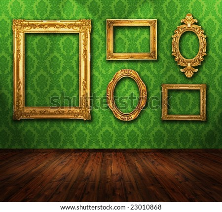 Beautiful interior, vintage wallpaper, wooden floor, gold ornate frames, similar available - stock photo