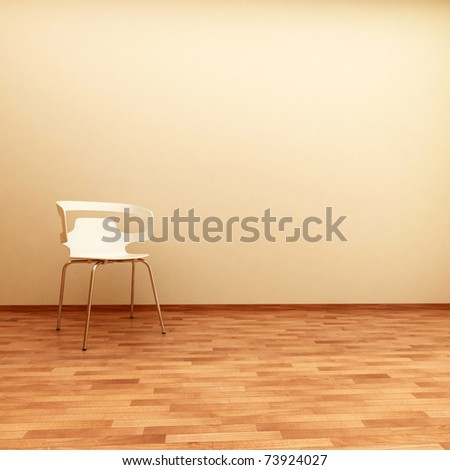beautiful interior with modern chair on wood floor - stock photo