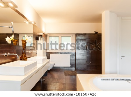 beautiful interiors of a modern house, bathroom - stock photo