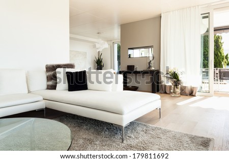 beautiful interiors of a modern house, living room - stock photo