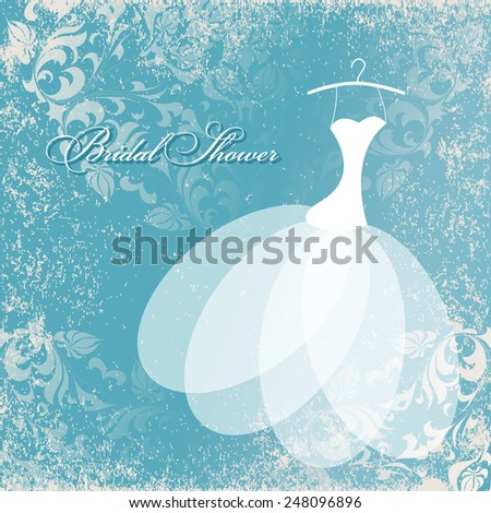 Beautiful invitation card with wedding dress on hangers , vintage floral elements on grunge textured paper. Background and dress are in the separate layers for easy editing. - stock photo
