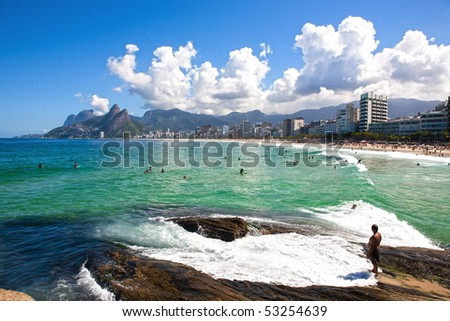 beautiful ipanema Leblon beach in rio de janeiro brazil - stock photo