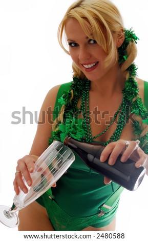 Beautiful Irish Lass Pouring a Pint of Ale - stock photo