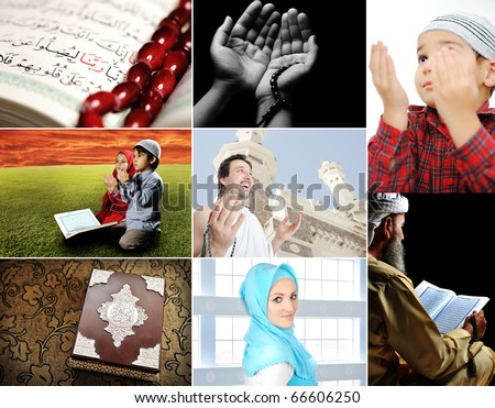 Beautiful ISLAM collection, collage of several photos, Muslim people and their activities - stock photo