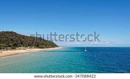Beautiful island and beach in sunny weather, Moreton Island, Australia. - stock photo