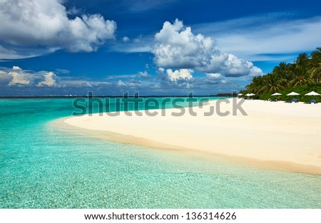 Beautiful island beach at Maldives - stock photo