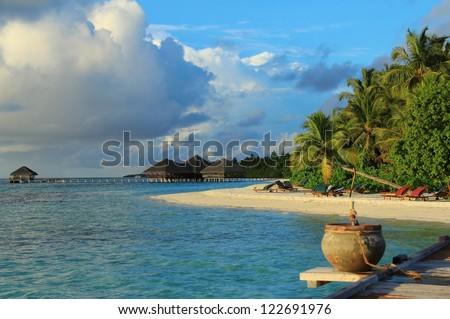 Beautiful island beach view , Maldives - stock photo