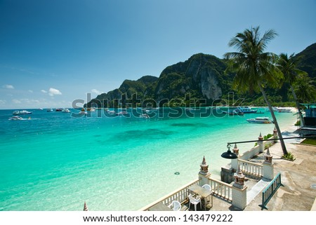 Beautiful island, blue sky and clear water in Koh Phi Phi Krabi, Thailand. - stock photo