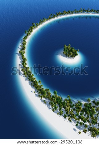 beautiful island from above - stock photo