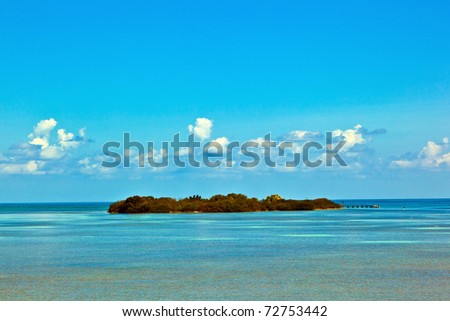 beautiful island in the Florida keys with lighthouse - stock photo