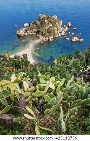 Beautiful Island (Isola Bella) beach in Taormina, Sicily, Italy. - stock photo