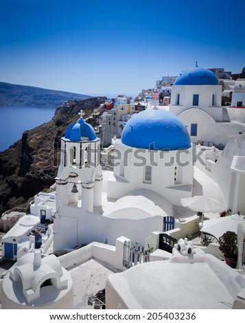 Beautiful Island of Santorini - stock photo
