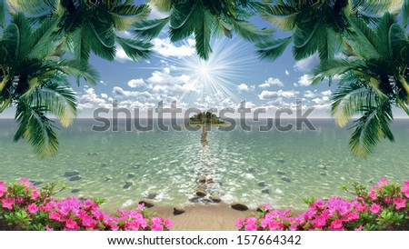 Beautiful island overlooking the sea - stock photo