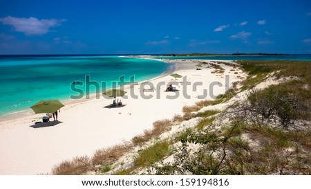 Beautiful island to relax in the archipelago of Los Roques, Caribbean - stock photo