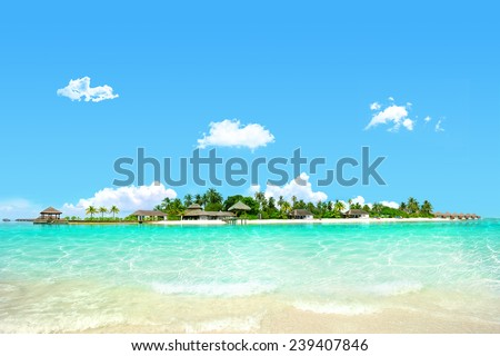 Beautiful island with clear water, holiday break - stock photo