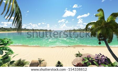 Beautiful island with sea view - stock photo