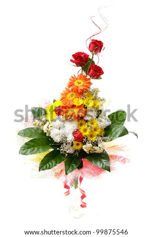 Beautiful isolated bouquet of flowers over white background - stock photo