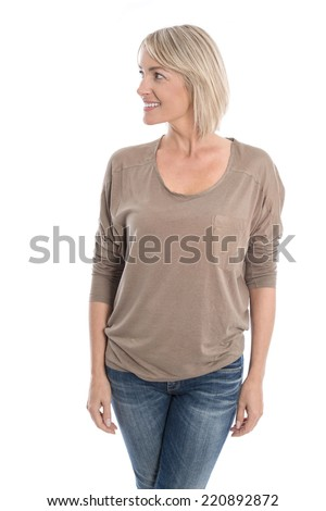 Beautiful isolated middle aged blond woman looking sideways to text.  - stock photo