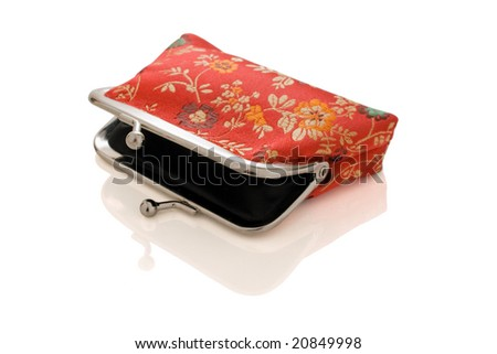 Beautiful isolated open purse with reflection - stock photo